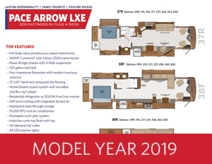 2019 PACE ARROW LXE brochure thumb